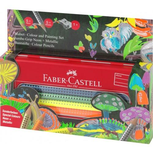 Faber-Castell Jumbo Grip Colouring Set 11 pcs. tin