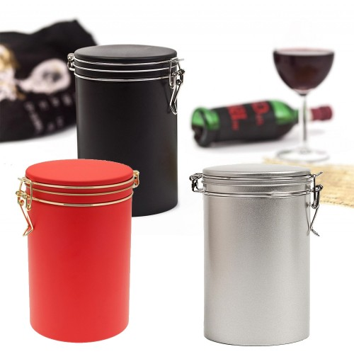 Round coffee can & food storage container colourful Bean Edition   Tindobo