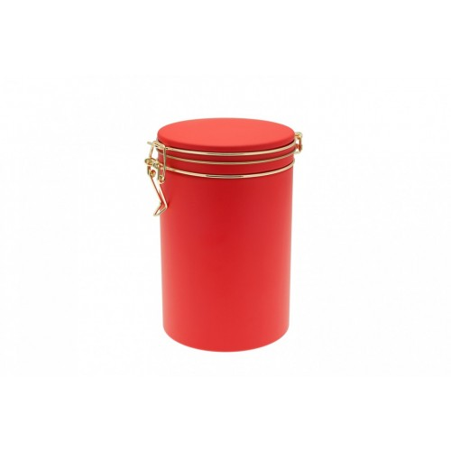 Round Coffee Can & Food Storage Container Bean Edition 500, tinplate, Red