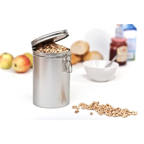 Round Coffee Can & Food Storage Container Bean Edition 500, tinplate, Silver