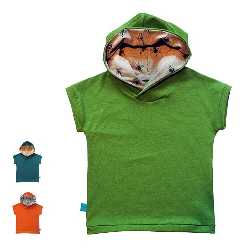 Short-sleeved Kids T-Shirt lined hood MIDGES eco cotton | bingabonga