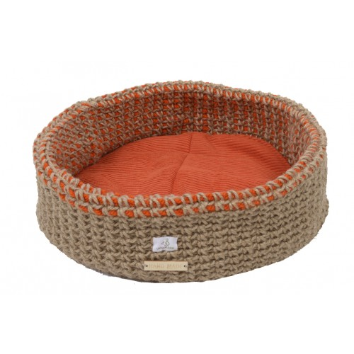 Cat basket crocheted double-walled made of organic hemp + cotton