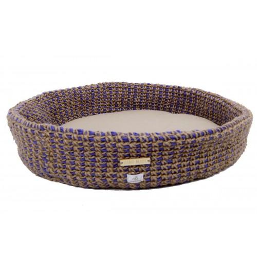 Crocheted cat bed basket Cornflower eco & handmade