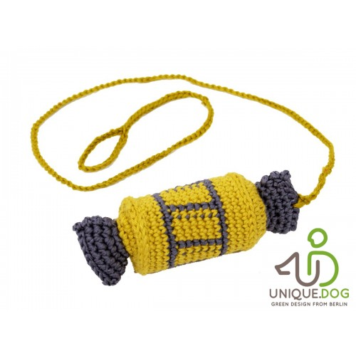 Crocheted Cat Toy yellow CANDY | Unique Dog