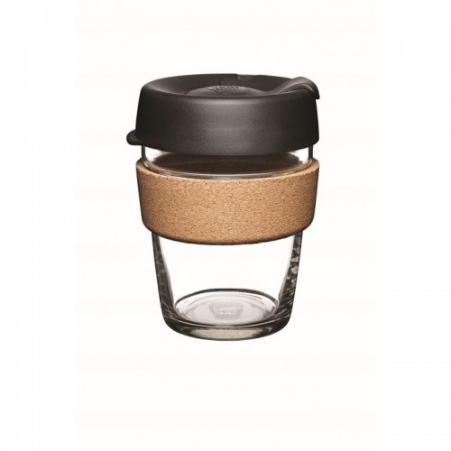 KeepCup Cork Black 12 oz - refillable cup made of glass with cork band