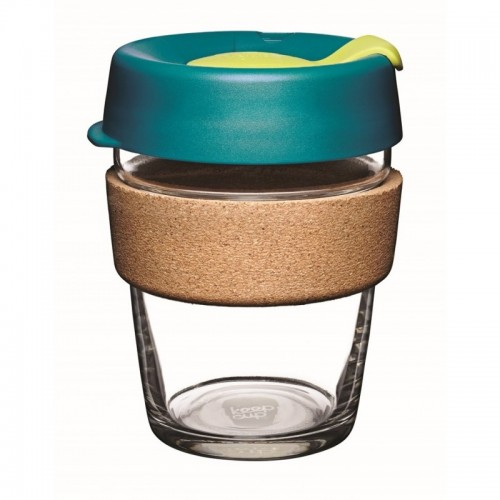 KeepCup Cork Turbine 12 oz - refillable cup made of glass with cork band