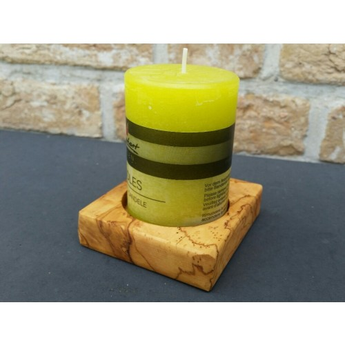 Olive Wood Candle Holder PAOLO for Pillar Candle | D.O.M.