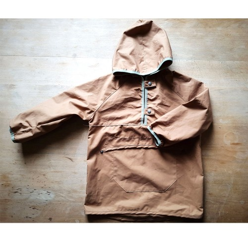 Kids pull-on Rain Jacket camel, EtaProof Organic Cotton | Ulalue