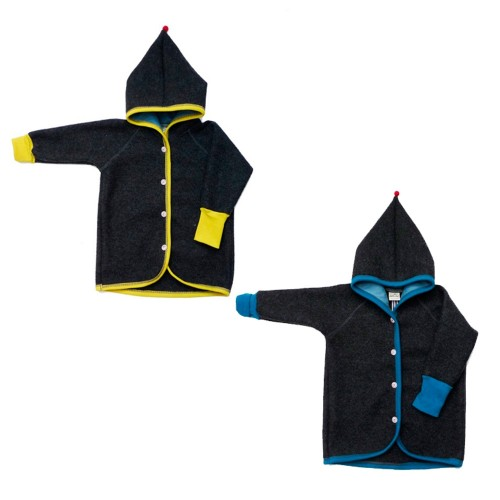 Baby Toddler Kids Eco Woollen Jacket with pointed Hood
