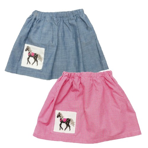 Girls Skirt with Horse appliqué, organic cotton  | Ulalue