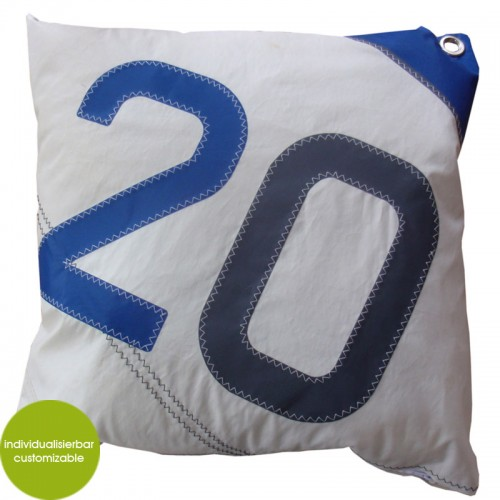 Blue-white Cushion Sail Boat 20, recycled canvas