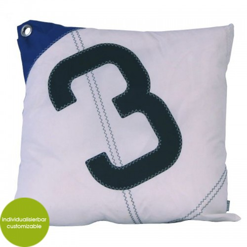 Blue-white Cushion Cover Sail Boat 3, recycled sailcloth