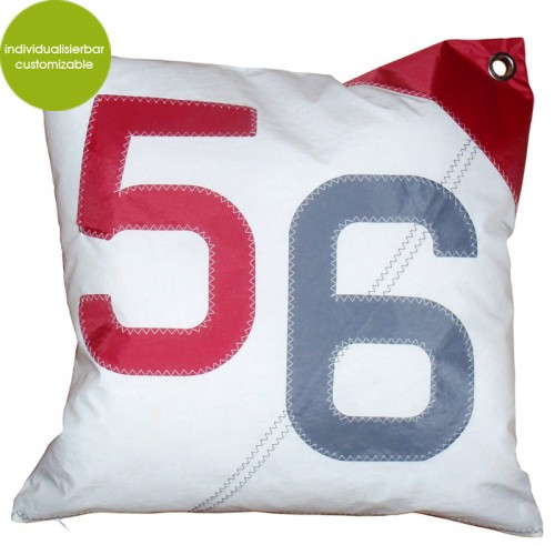 Large Cushion Sail Boat 56, recycled canvas | Marron Rouge