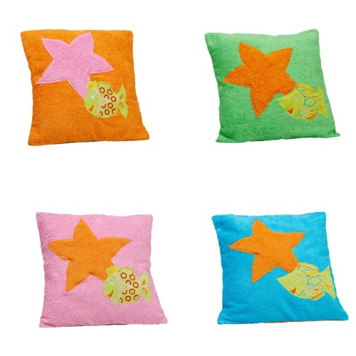 Organic Cotton Cushion Cover pink with starfish & fish