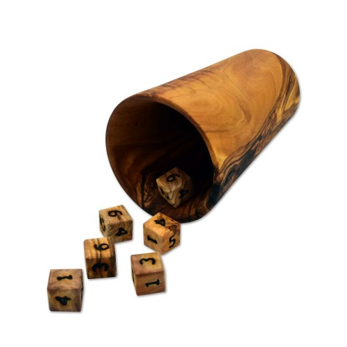 Dice Cup & 6 Dice of Olive Wood | D.O.M.