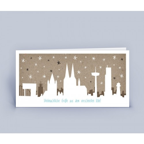 Eco Christmas Card Cologne in the Snow | eco-cards