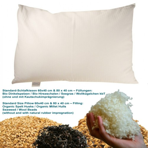 Standard size pillow with different natural filling, 2 sizes | speltex