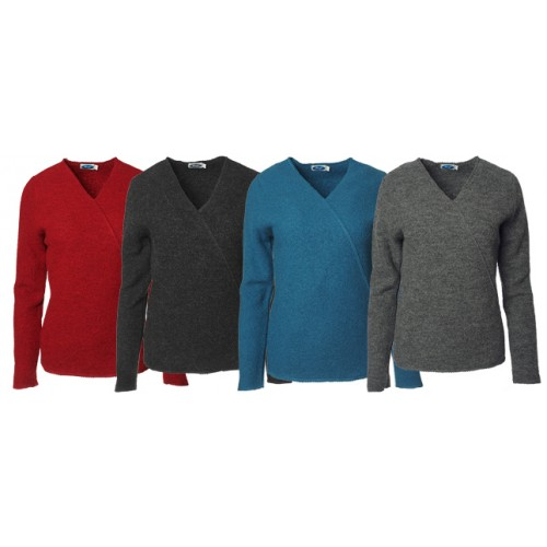 Crepe Full Wraparound Pullover of Organic Wool | Reiff