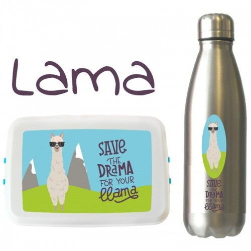 Llama Eco Travel Set: drinking bottle & lunchbox | Biodora