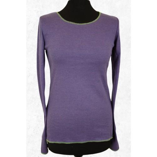 Organic Cotton Longsleeve ringed in Purple-Lime   Jalfe