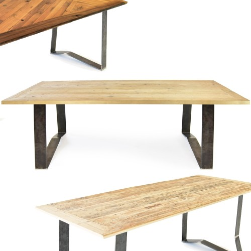 Upcycled wooden table lignaro with design magnetic legs 2 | reditum