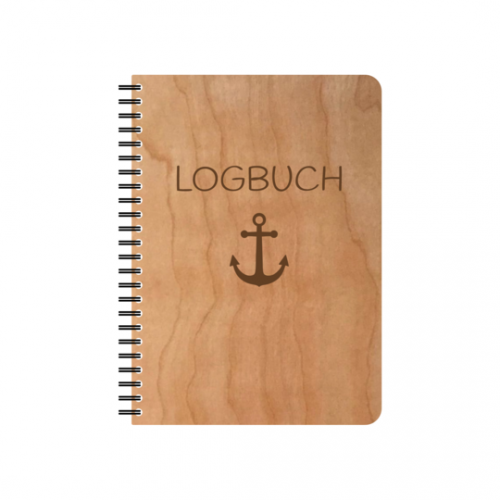 Logbook refillable eco notebook with cherrywood veneer cover