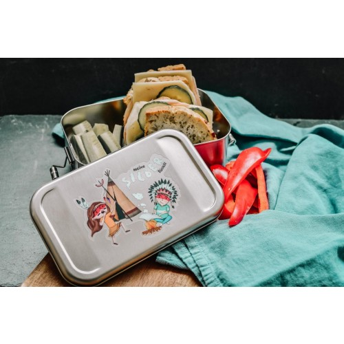 Kids Stainless Steel Lunch Box indigenous cartoon » Tindobo