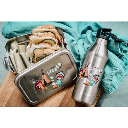Kids Lunch Box & Bottle Set indigenous cartoon, stainless steel » Tindobo