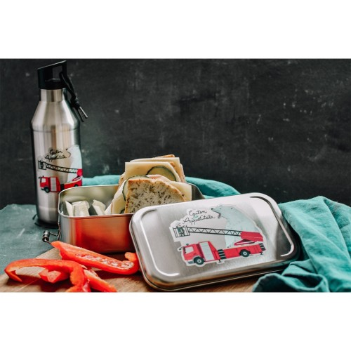 Kids Lunch Box & Bottle Set Fire Brigade, stainless steel » Tindobo