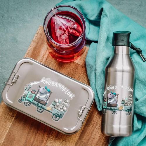 Kids Lunch Box & Bottle Set steam loco, stainless steel » Tindobo
