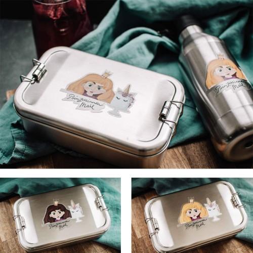 Kids Lunch Box & Bottle Set Princess, stainless steel » Tindobo