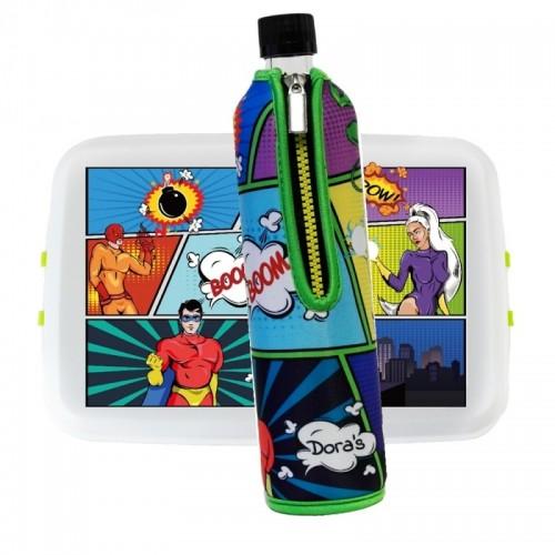 Duo Lunch Kit »Comic« lunch box & reusable glass bottle with neoprene sleeve   Dora's