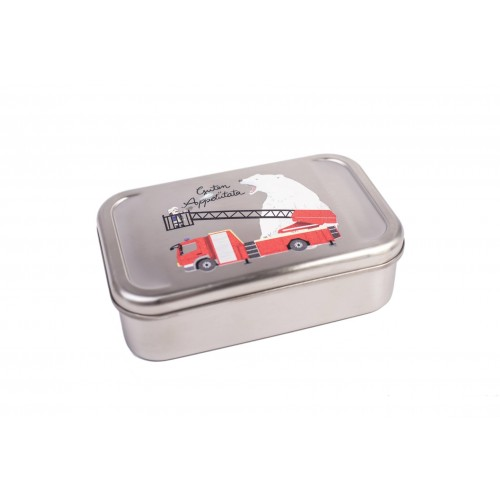 Kids Lunchbox Fire Brigade tinplate box   Tindobo
