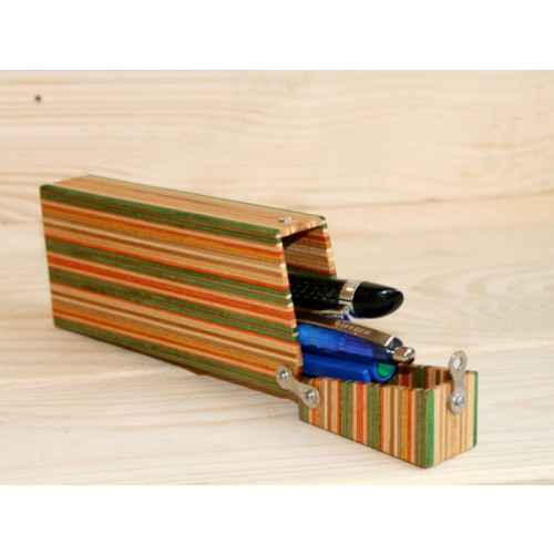 Pencil case made of skateboard deck