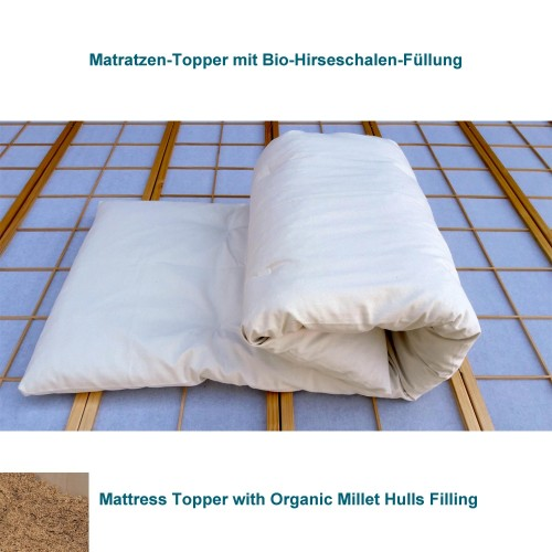 Mattress Topper with Organic Millet Hulls, 6cm high | speltex