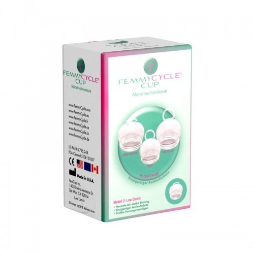 FemmyCycle Low Cervix Menstrual Cup with no spill design