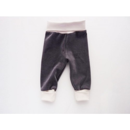 Baby Organic Plush Trousers with Cuffs, Grey/Natural-Rose | Ulalue