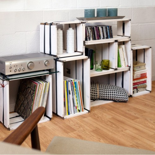 Upcycled shelving system white wood moveo. CASA 30.XX