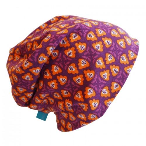 "Unisex Beanie ""Line Flora Purple"" - Eco Jersey | bingabonga"