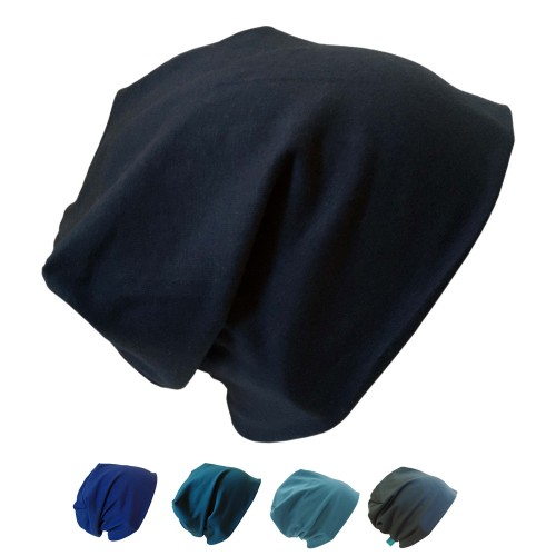 Eco Cotton Beanie Hat 'Line' plain blue tones | bingabonga