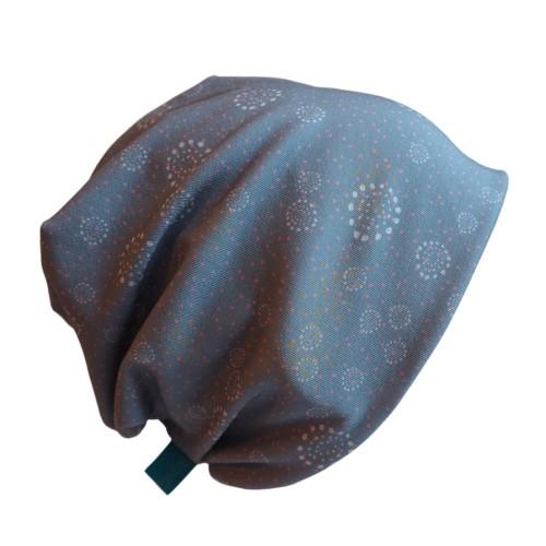 "Unisex Beanie ""Line gentle dots"" - Eco Jersey grey-blue | bingabonga"