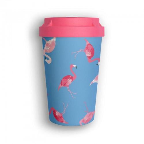 Organic Reusable Takeaway Cup Heybico Flamingo Overload