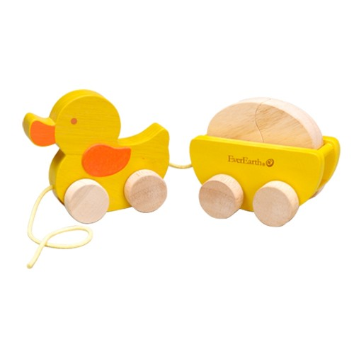 EverEarth FSC wooden toy - Pull along Duck with Egg