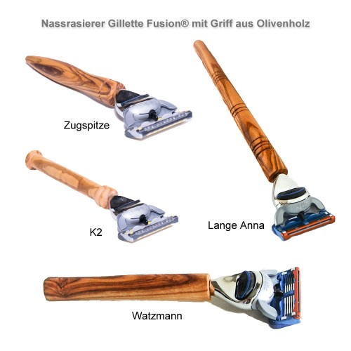 D.O.M. Olive Wood Wet Razor Gillette Fusion® - various designs