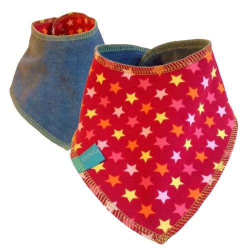 Reversible Baby Scarf little Stars on Red/Light Blue | bingabonga