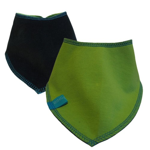 Reversible Baby Scarf kiwi/navy, eco cotton bandana bib | bingabonga