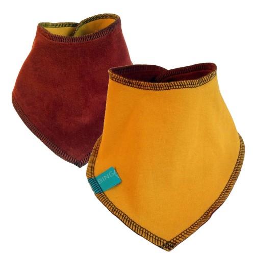 Reversible Baby Scarf mustard yellow/henna, eco cotton bandana bib | bingabonga