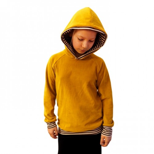 Yellow Hoody for children, eco cotton, striped lined hood | bingabonga