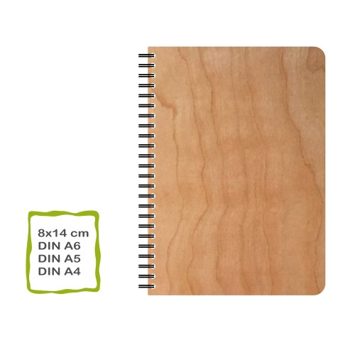 Genuine Cherrywood Notebook, plain paper, various formats | echtholz