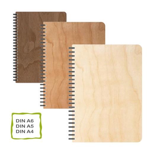 Genuine wood veneer notebook, FSC paper, various sizes | echtholz